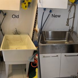old and new kitchen sink
