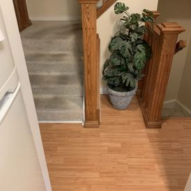 newly installed wooden flooring around the stairs