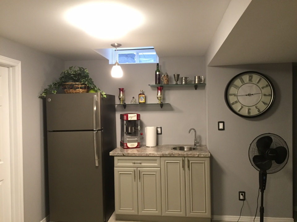 fridge and storage cabinet