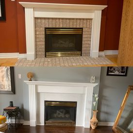 different views of a fireplace