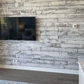 view of a TV on wall