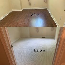before and after view of room renovation